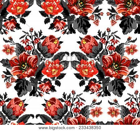 Bouquet Of Wildflowers (lilia, Bellflower, Barberry Flower And Cornflowers) In Red And Black Tones U