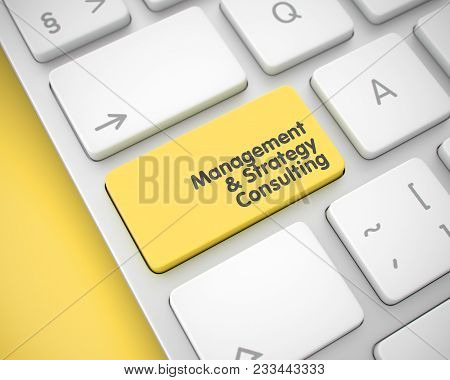 Online Service Concept With Modernized Enter Yellow Keypad On Keyboard: Management And Strategy Cons