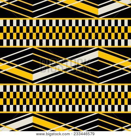 Seamless Geometric Pattern With Wide Horizontal Stripes. Yellow, Black, Dusty White Colors. Retro Fa