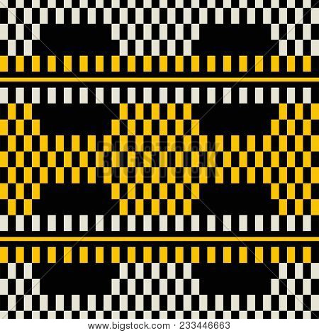 Seamless Geometric Print Of Wide Horizontal Stripes With Chessboard Pattern Inside. Yellow, Black, D