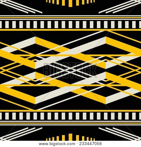 Seamless Geometric Pattern With Wide Horizontal Stripes. Black, Yellow, Dusty White Colors. Retro Fa