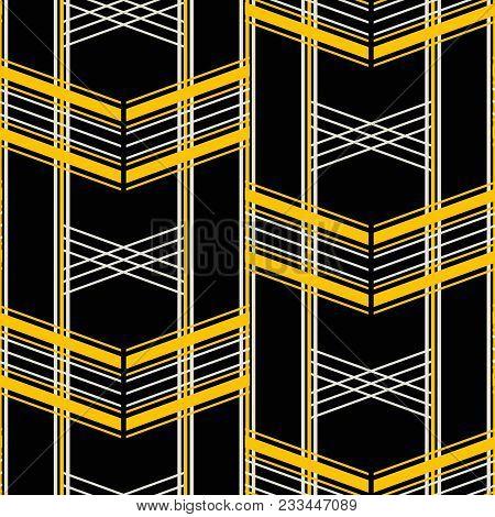 Seamless Geometric Pattern Of Wide Horizontal Stripes. Retro Fashion Vector Print