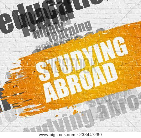 Education Service Concept: Studying Abroad. Yellow Inscription On Brickwall. Studying Abroad - On Wh