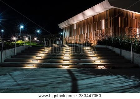 Lighted Stairway Leading Up Ventura College Campus Showing Contemporary Building Design In Californi