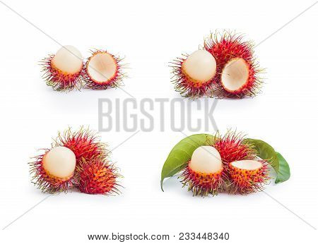 Fresh Rambutan And Delicious With Leaves On White Background