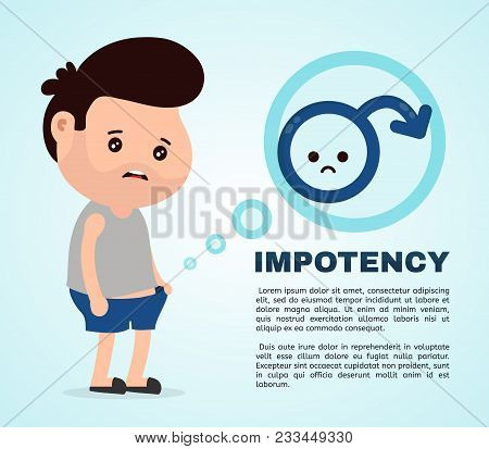 Sad Man With Erectile Dysfunction Looks Into The Panties.vector Flat Cartoon Character Illustration
