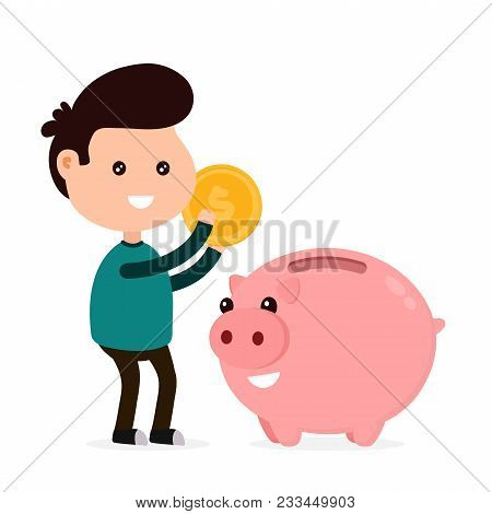 Young Happy Cute Smiling Funny Man Tosses A Coin Into A Piggy Bank. Vector Flat Cartoon Character Il