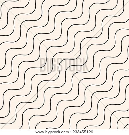 Diagonal Thin Wavy Lines Vector Seamless Pattern. Subtle Monochrome Background With Delicate Waves.