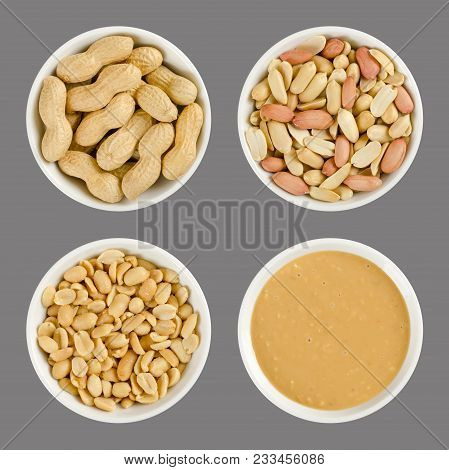 Peanuts In White Porcelain Bowls. Roasted Groundnuts In Shells, Shelled, Salted And Crunchy Peanut B
