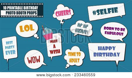 Colorful Photo Booth Props Set Vector Illustration. Collection Of Birthday Party Speech Bubbles. Per