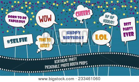 graphic about Printable Photo Booth Props Birthday known as Picture Booth Props Preset Vector Picture (Cost-free Demo) Bigstock