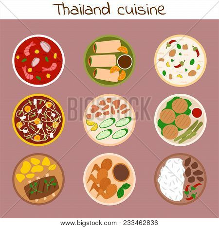 Traditional Thai Food Thailand Asian Plate Cuisine Seafood Prawn Cooking Delicious And Hot Ingredien