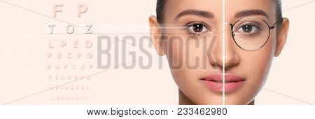 Woman Face, Present Before And After Laser Vision Correction. Female Face With Glasses And Without G