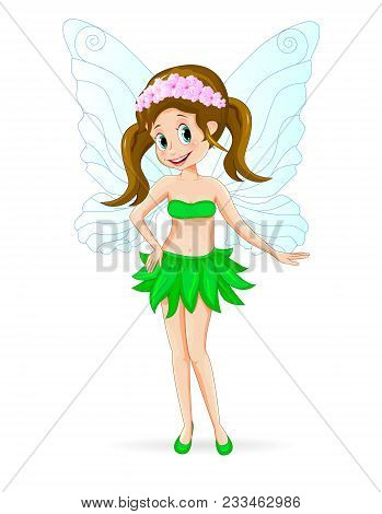 Cartoon Fairy On A White Background. The Fairy Is Dressed In A Skirt Of Green Leaves And With Flower
