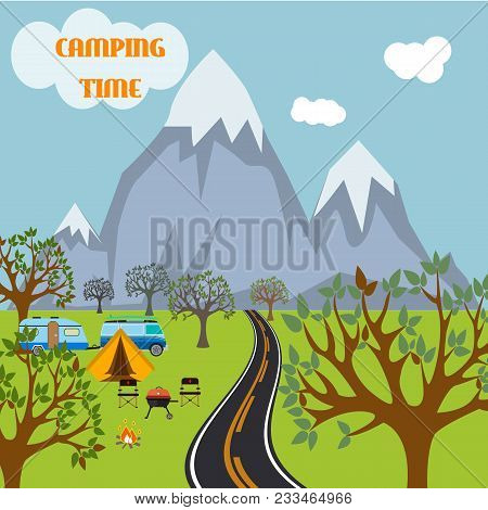 Camp Adventure Travel Nature Tent Tourism. Vector Illustration Fire Landscape Vacation Outdoor Fores