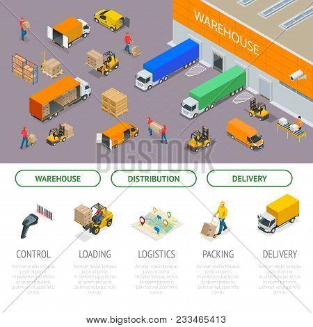 Isometric Warehousing And Distribution Services. Warehouse Storage And Distribution. Ready Template