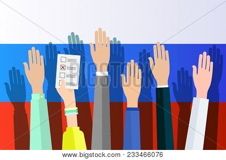 Concept Of Election. Hands Against The Background Of The Russian Flag And Hold Sheets With 2018, Ele