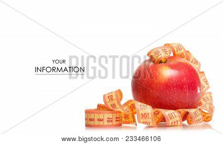 Apple Centimeter Health Losing Weight Pattern On White Background Isolation