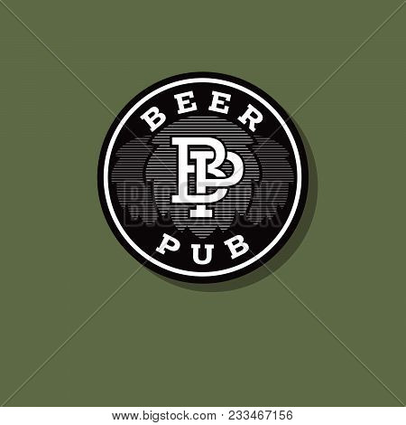 Pub Logo. Beer Pub Emblem. Hops And Letters In A Green Circle. P And B Letters.