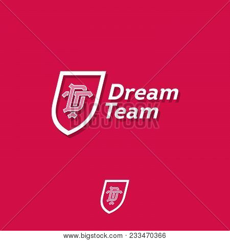 Dream Team Logo. Sport Or Business Team Emblem. D Letter And T Letter In The Shield.