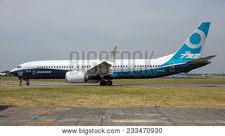 Paris, France - Jun 22, 2017: New Boeing 737-9 Max Airliner At The Paris Air Show 2017.