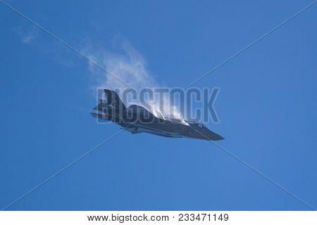 Paris, France - Jun 23, 2017: Us Air Force Lockheed-martin F-35 Lightning Ii Fighter Jet Free Fall M