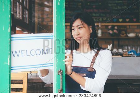 Young Startup Owner Small Cafe Shop