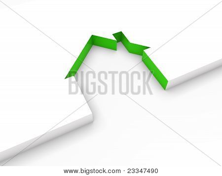 3D House Line Green