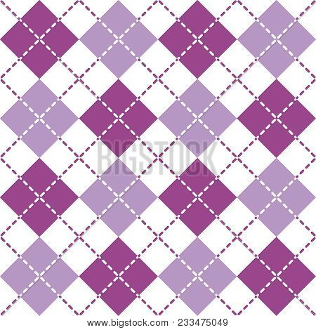Seamless Argyle Pattern With Dashed Lines In Shades Of Purple And White.