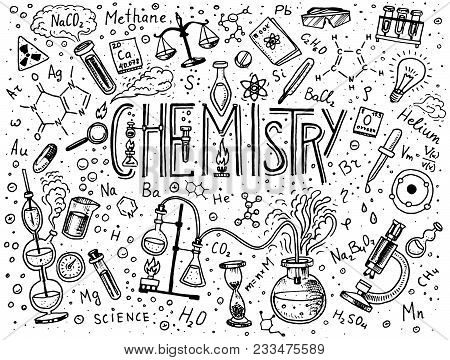 Chemistry Of Icons Set. Chalkboard With Elements, Formulas, Atom, Test-tube And Laboratory Equipment