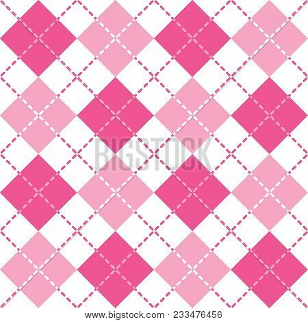 Seamless Argyle Pattern With Dashed Lines In Shades Of Pink.