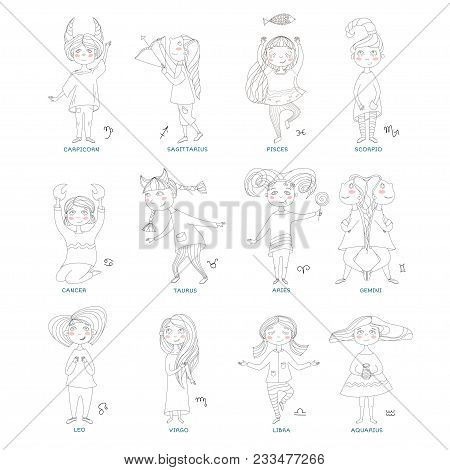 Funny Horoscope For Girls. Cute Girls In The Form Of Zodiac Signs. Outline Drawing In Cartoon Style.
