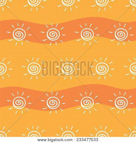 Drawing Sun On Yellow And Orange Striped Background. Pattern Painting Sun On Striped Orange Backgrou