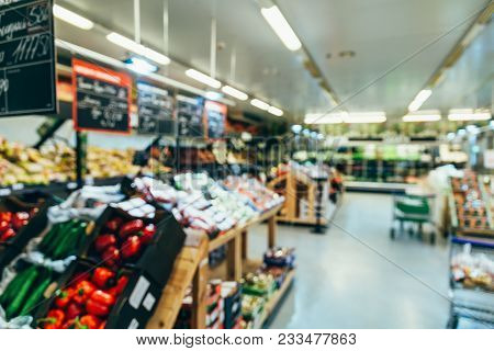 Grocery Store. Vegetables And Fruits In Store. Blurred. Out Of Focus