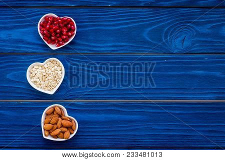 Proper Nutrition For Pathients With Heart Disease. Cholesterol Reduce Diet. Oatmeal, Pomegranate, Al