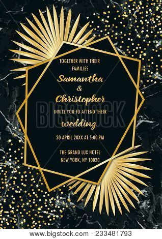 Wedding glamorous invitation floral card with gold geometric frame and palm leaves on black marble background. Fashion luxury botanical greeting invite. A4 template with text place. poster