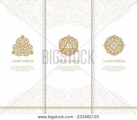 Different Ornament Beige Vector Emblems.can Be Used For Jewelry, Beauty And Fashion Industry. Elegan