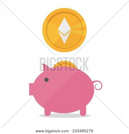 Earnings Ethereum Icon In Trendy Flat Style Isolated On White Background. Earnings Ethereum Icon. Ea