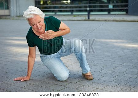 Senior Woman Getting Heart Attack