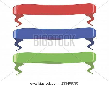 Ribbons Banners For Awarding Awards Shiny Red Blue Green Objects Isolated On White Background