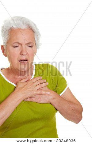 Senior Woman Having Heart Attack