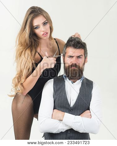 Bearded Man And Sexy Woman With Long Curly Hair. Couple In Love At Hairdresser. Barbershop, Fashion,