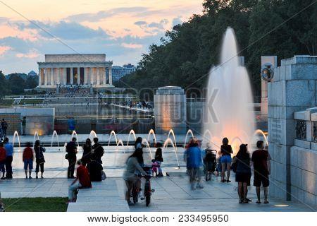Washington DC at night - Lincoln Memorial and World War II Memorial