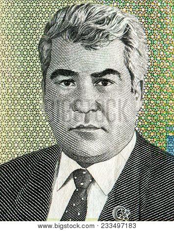 Saparmurat Niyazov Portrait From Ten Thousand Turkmenistan Manats Banknote
