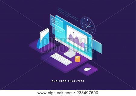 Business Strategy And Planning. Data And Investments. Business Success. Computer Monitor With Infogr