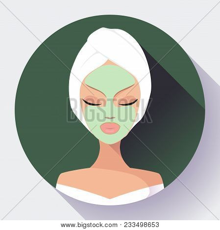 Spa Woman Applying Facial Cleansing Mask Icon Vector Beauty Treatments Icons