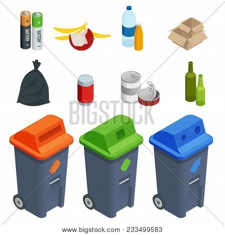 Isometric Set Of Waste Sorting Cans, Segregation. Separation Of Waste On Garbage Cans. Disposal. Col