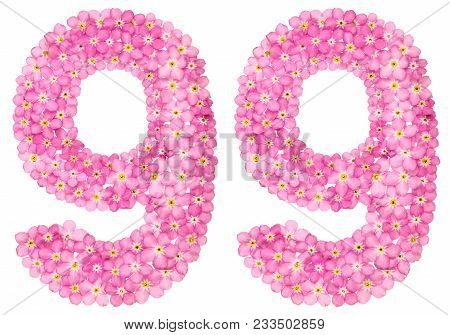 Arabic Numeral 99, Ninety Nine, From Pink Forget-me-not Flowers, Isolated On White Background