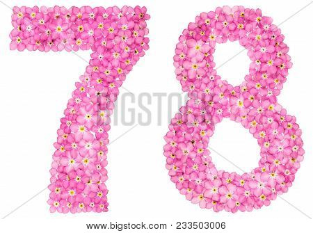 Arabic Numeral 78, Seventy Eight, From Pink Forget-me-not Flowers, Isolated On White Background