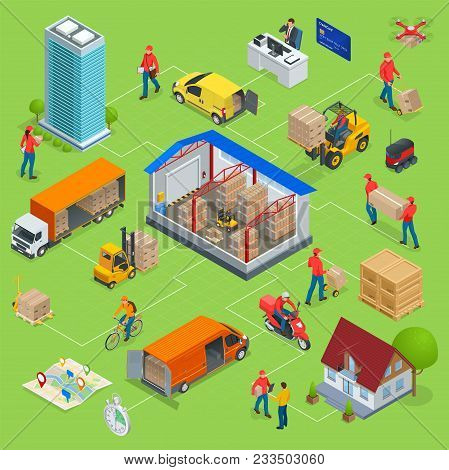 Isometric Logistics And Delivery Infographics. Delivery Home And Office. Warehouse, Truck, Forklift,